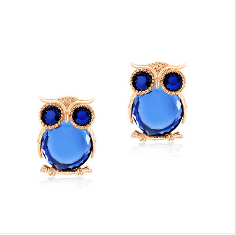 Ladies Owl Earrings Blue Gold Stud