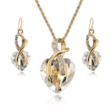 Gold Plated Jewelry Set Crystal Heart and Necklace Earrings