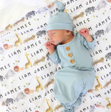 SAFARI PARTY PERSONALIZED BABY NAME SWADDLE