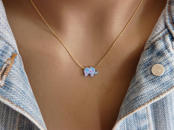 Opal elephant necklace - OpaLandJewelry