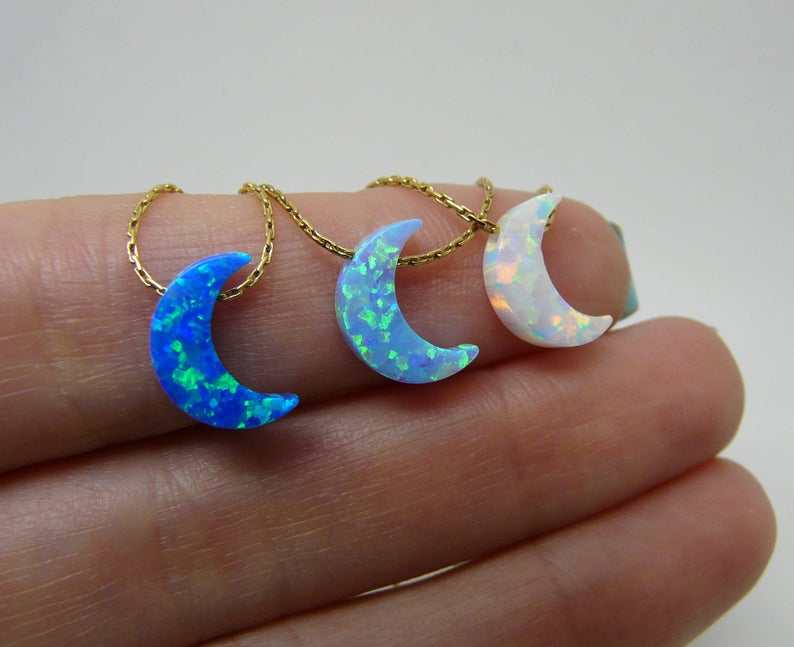 Women's Opal Moon Pendant Necklace