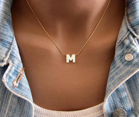 Opal initial necklace A-Z