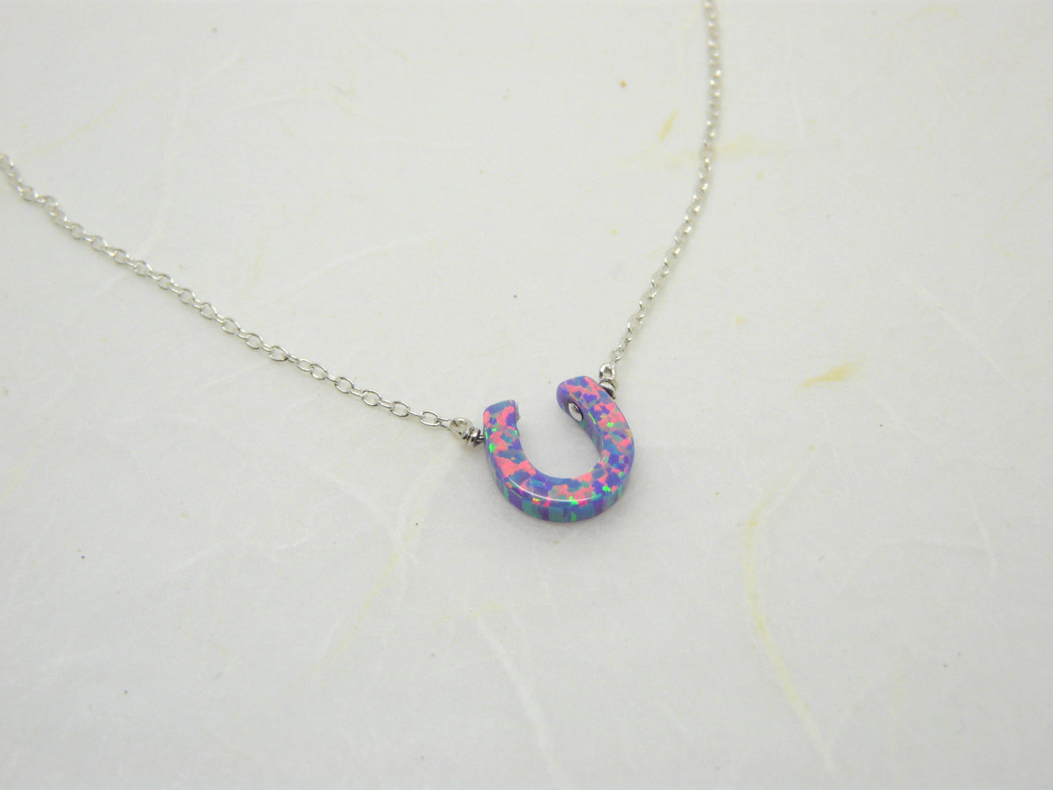 Opal Horseshoe necklace - OpaLandJewelry