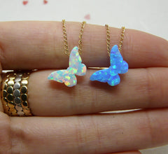 Opal butterfly necklace - OpaLandJewelry