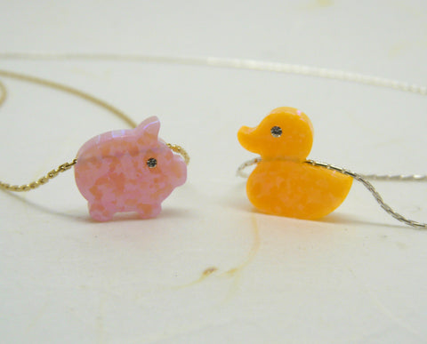 Rubber duck / Pig necklace - OpaLandJewelry