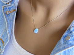 Pear shape Opal necklace - OpaLandJewelry