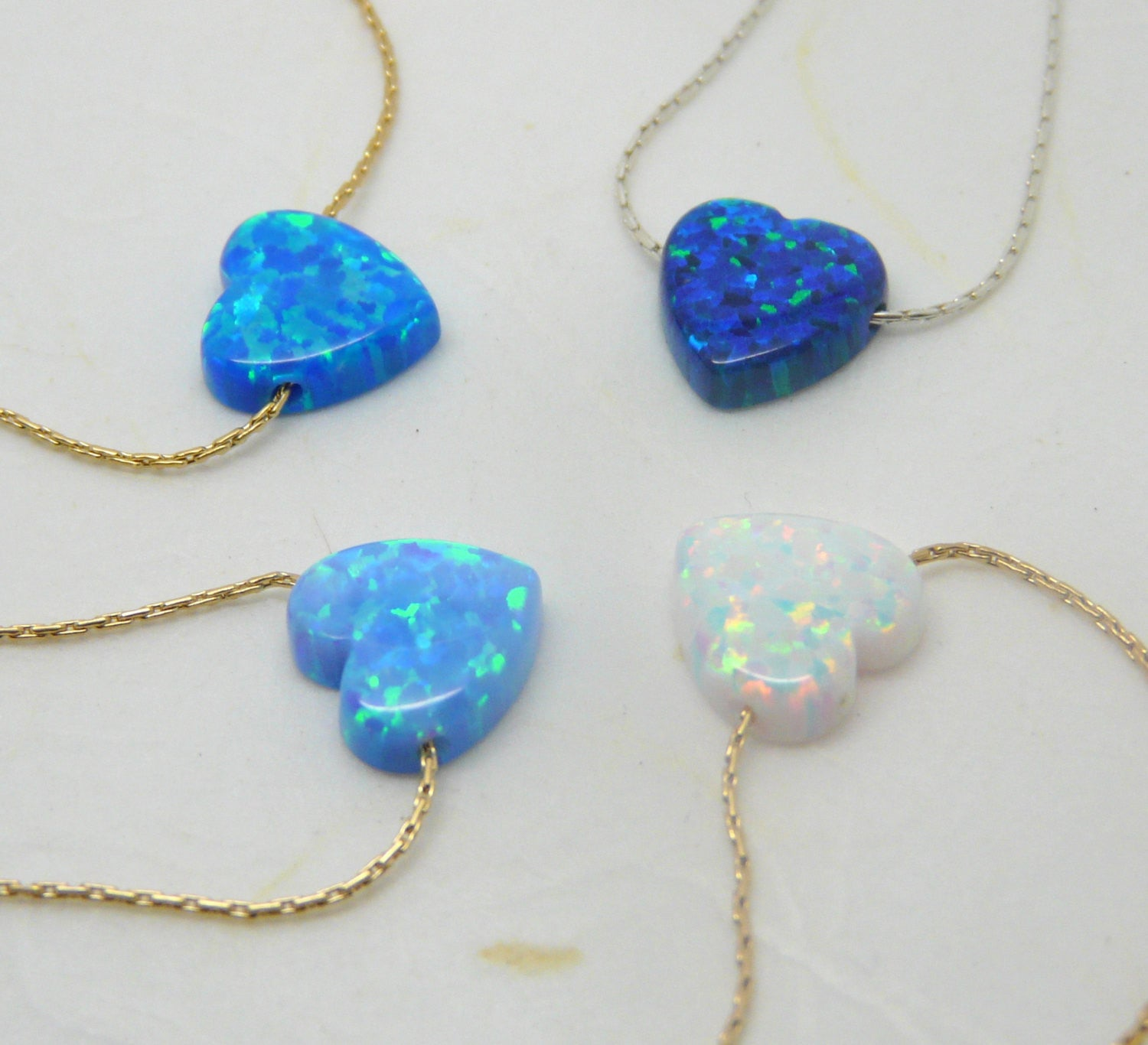 Opal Heart necklace - OpaLandJewelry