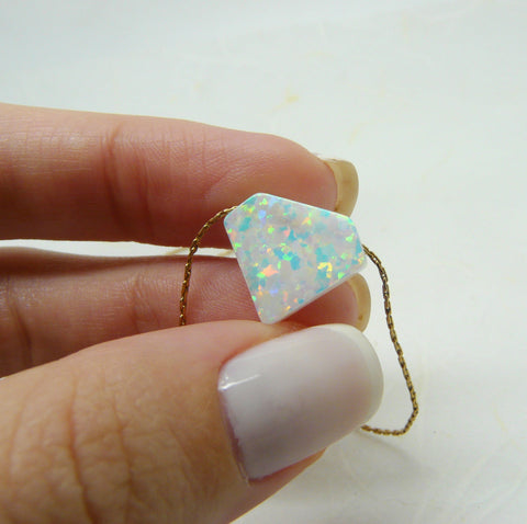 Diamond shape Opal necklace - OpaLandJewelry