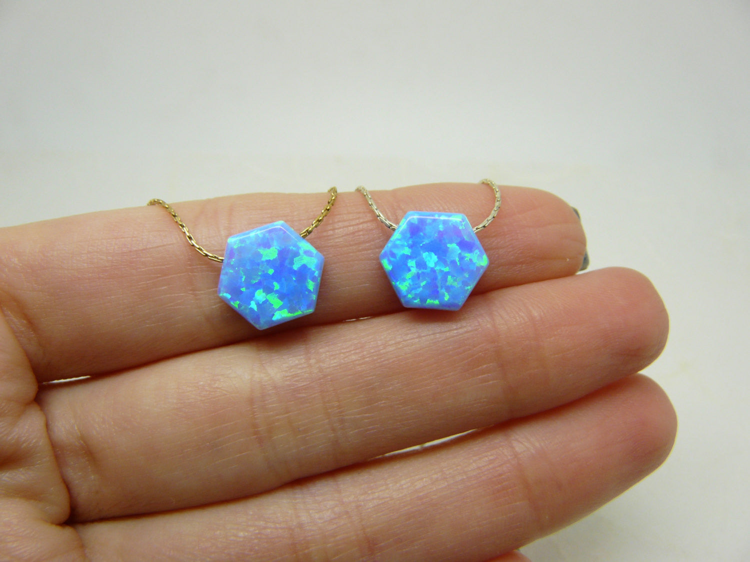 Blue Opal Hexagon necklace - OpaLandJewelry