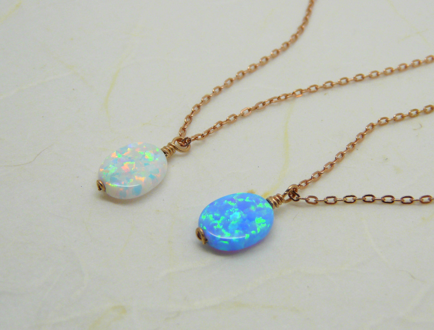 Rose gold wire wrapped Opal necklace - OpaLandJewelry