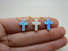Opal cross necklace - OpaLandJewelry