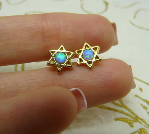 Magen David Stud Earrings - OpaLandJewelry