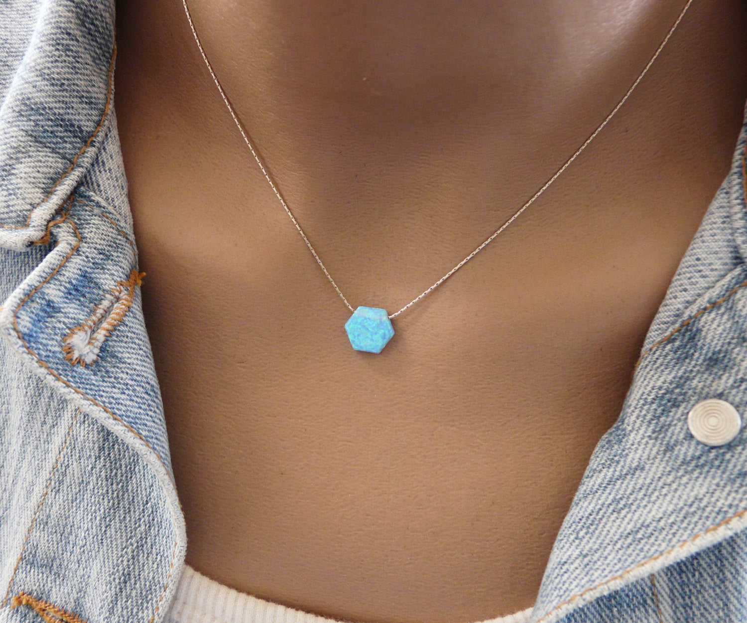 Hexagon Opal necklace - OpaLandJewelry