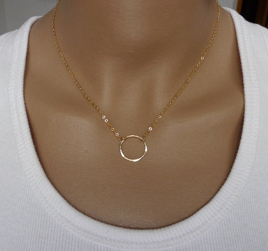 Dainty Gold circle Necklace - OpaLandJewelry