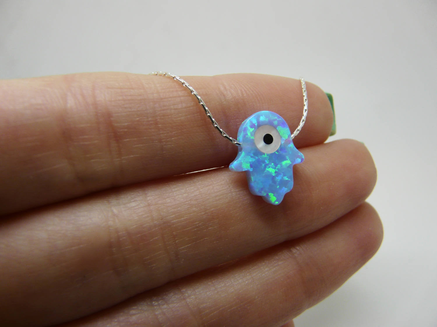 Hamsa evil eye necklace - OpaLandJewelry