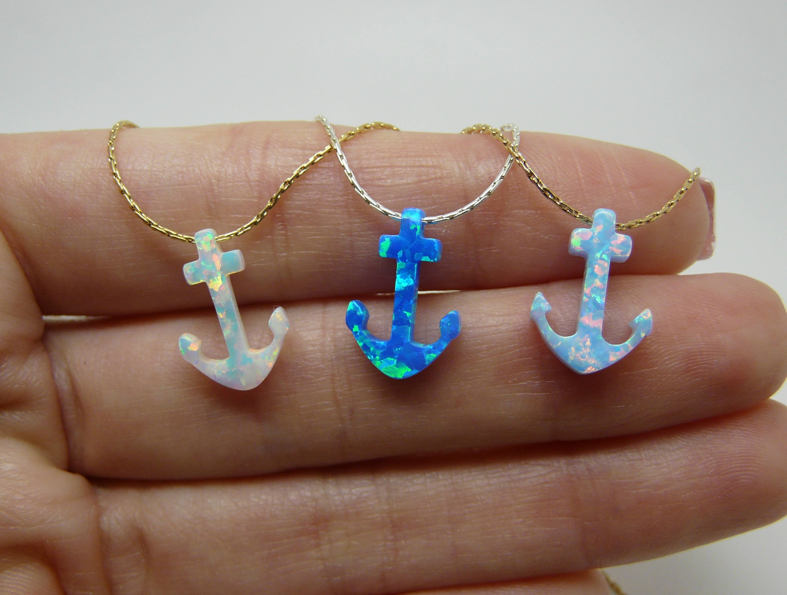 Opal Anchor necklace - OpaLandJewelry
