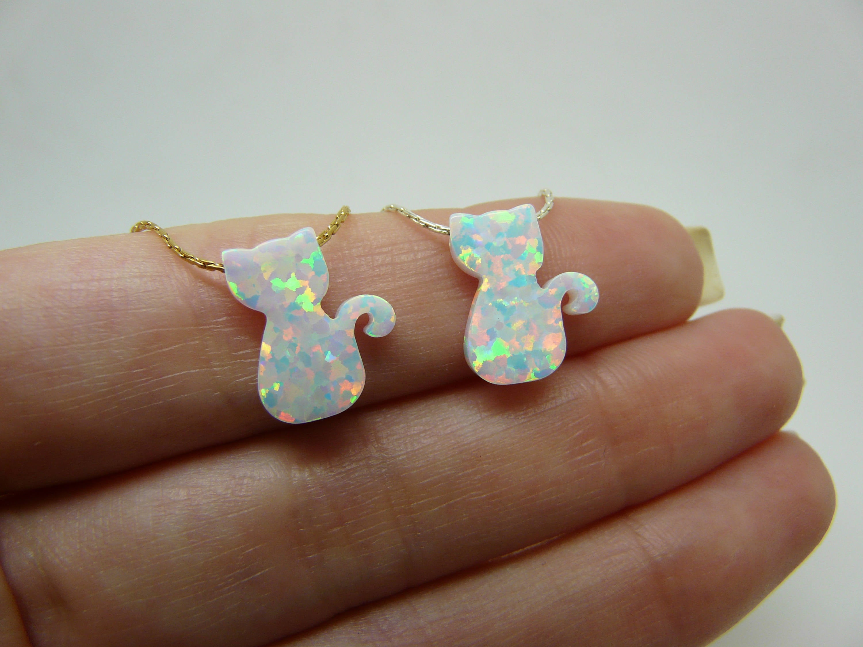 Opal cat necklace
