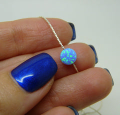 Tiny Opal coin necklace