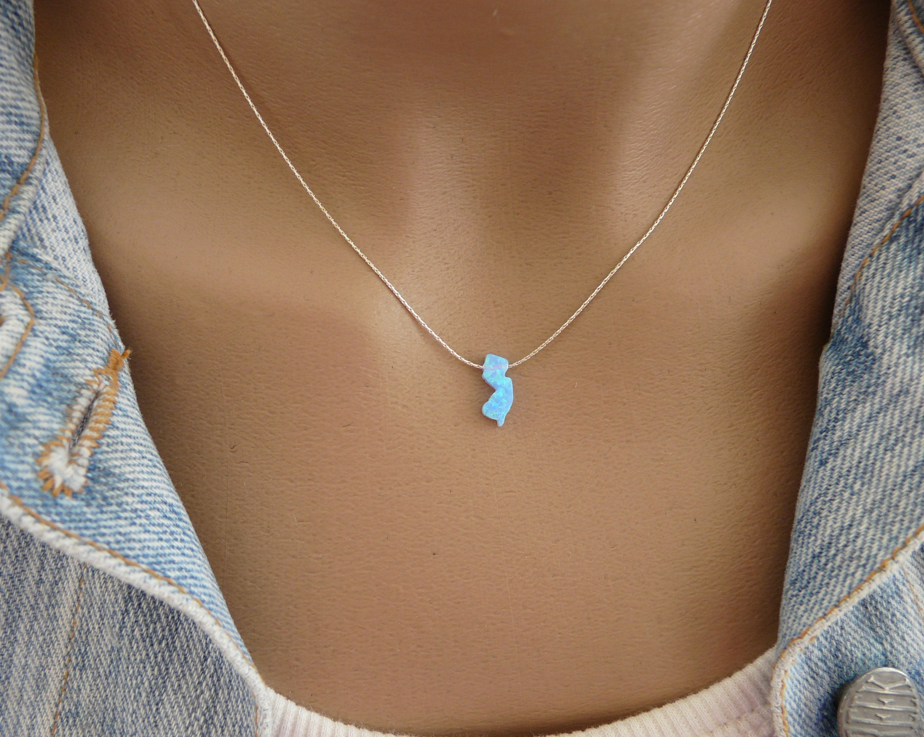 Opal New Jersey Map necklace