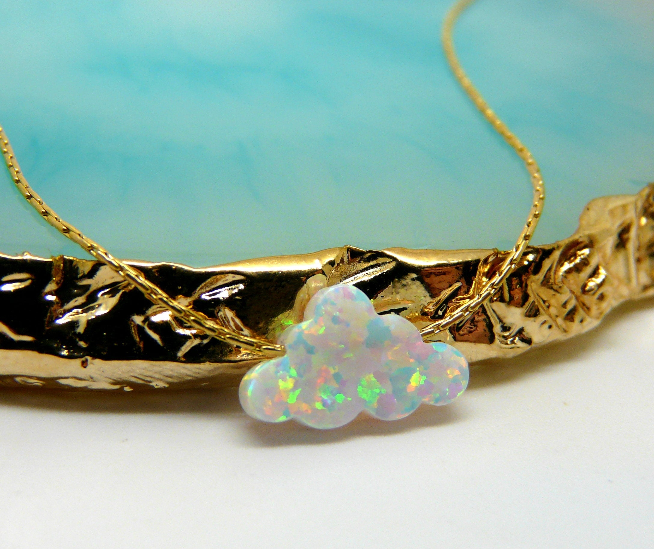 Opal cloud necklace