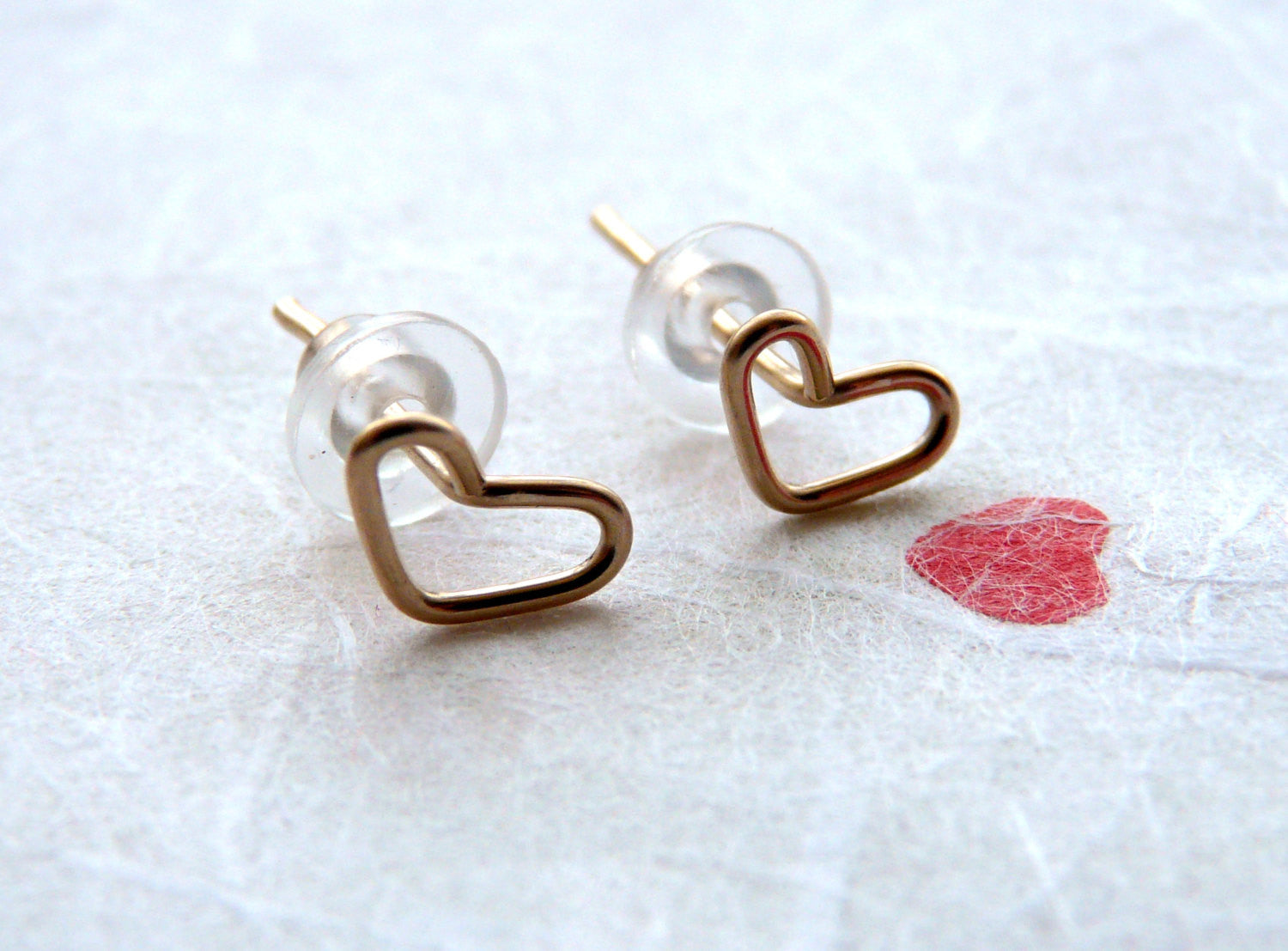 Heart studs Tiny earrings - OpaLandJewelry