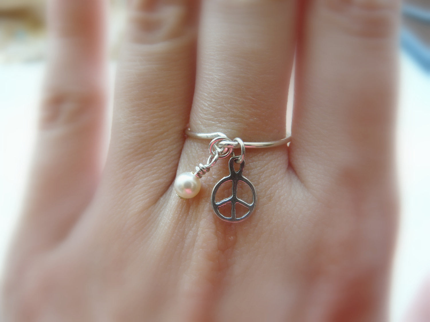 Peace sign charm ring - OpaLandJewelry