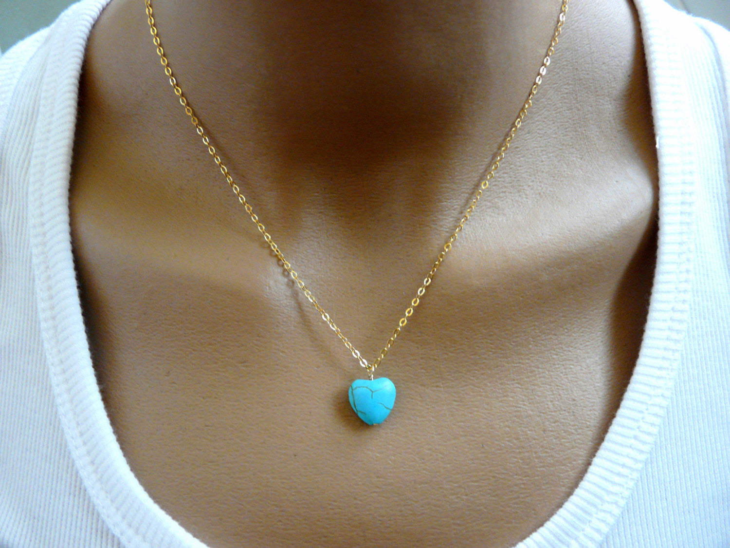 Turquoise Heart necklace - OpaLandJewelry