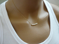 Pearl bar necklace - OpaLandJewelry