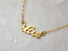 Gold filled LOVE necklace - OpaLandJewelry