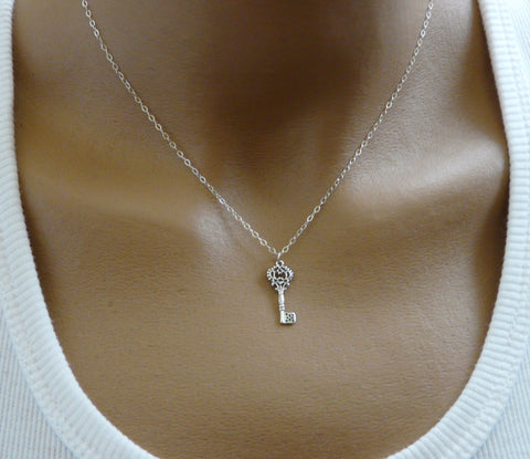 Sterling silver key necklace - OpaLandJewelry