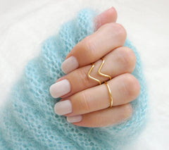 Chevron midi ring set - OpaLandJewelry