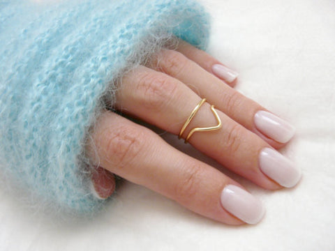 Chevron knuckle rings - OpaLandJewelry