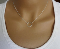 Circle sterling silver necklace - OpaLandJewelry