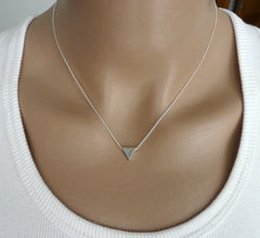 Sterling silver triangle necklace - OpaLandJewelry