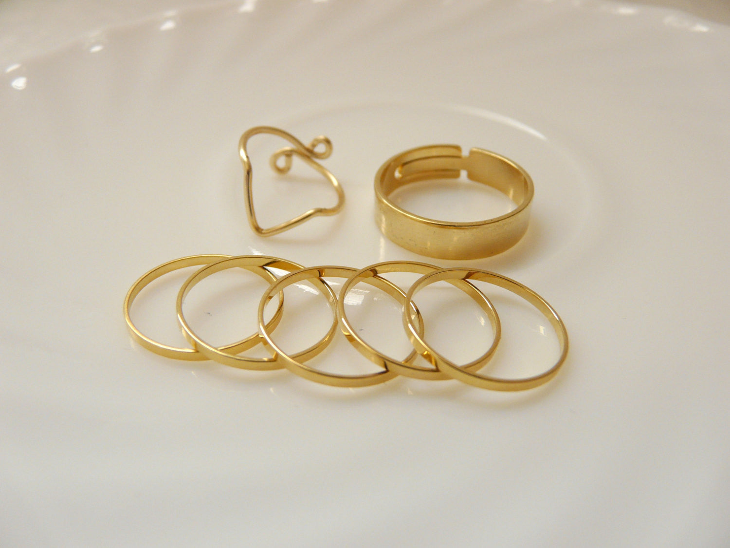 Set of 7 Gold knuckle rings - OpaLandJewelry