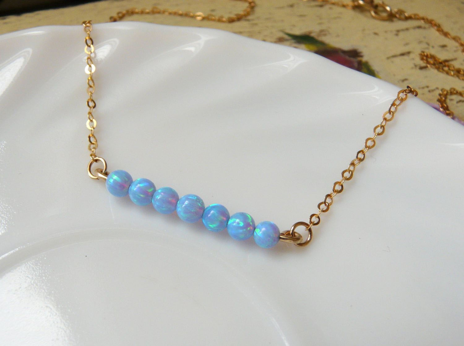 Opal bar necklace - OpaLandJewelry
