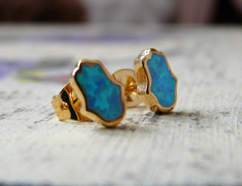 Opal Hamsa earrings - OpaLandJewelry