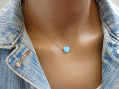 Blue Heart Opal necklace - OpaLandJewelry
