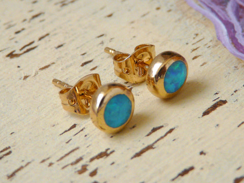 Stud gold filled earrings - OpaLandJewelry