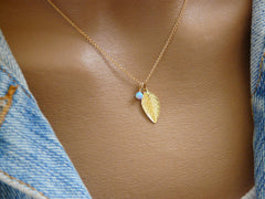 Gold fill leaf necklace - OpaLandJewelry
