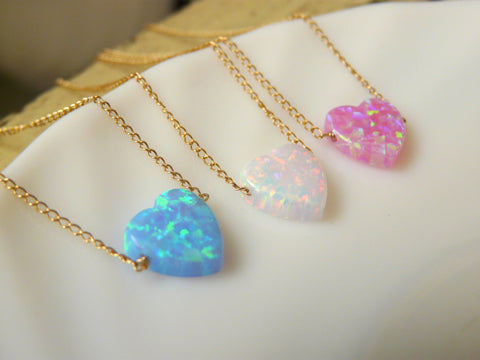 Delicate Opal heart necklace - OpaLandJewelry