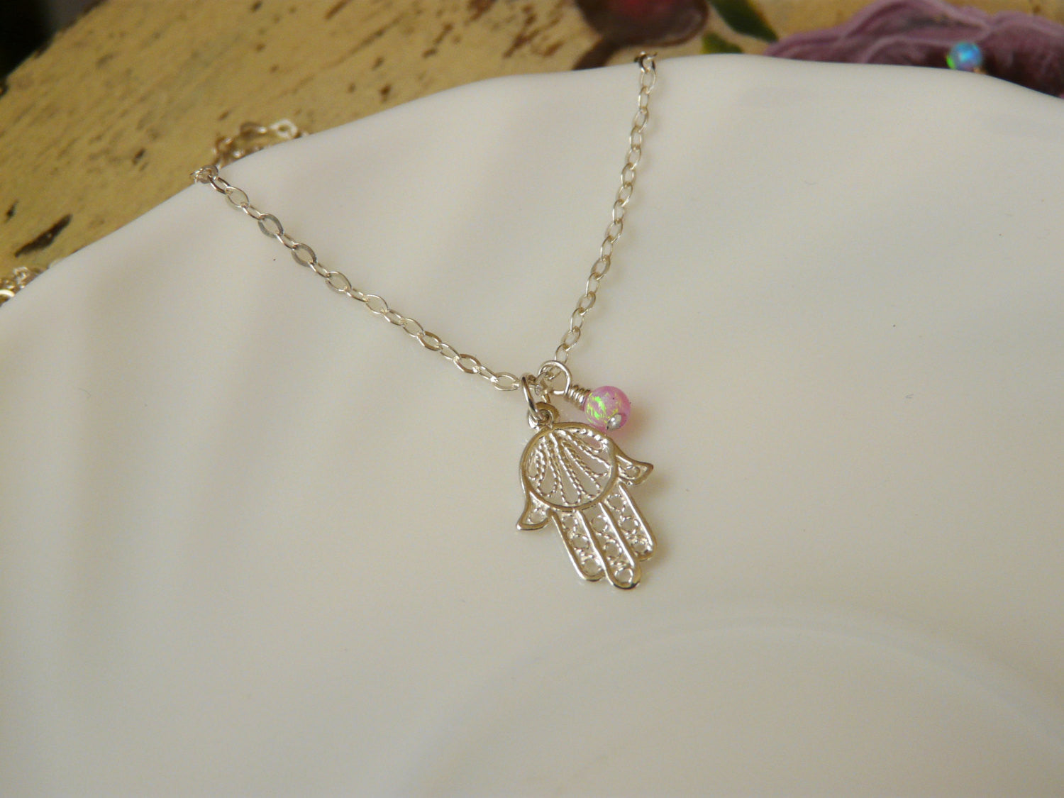Sterling silver Hamsa necklace with Opal - OpaLandJewelry