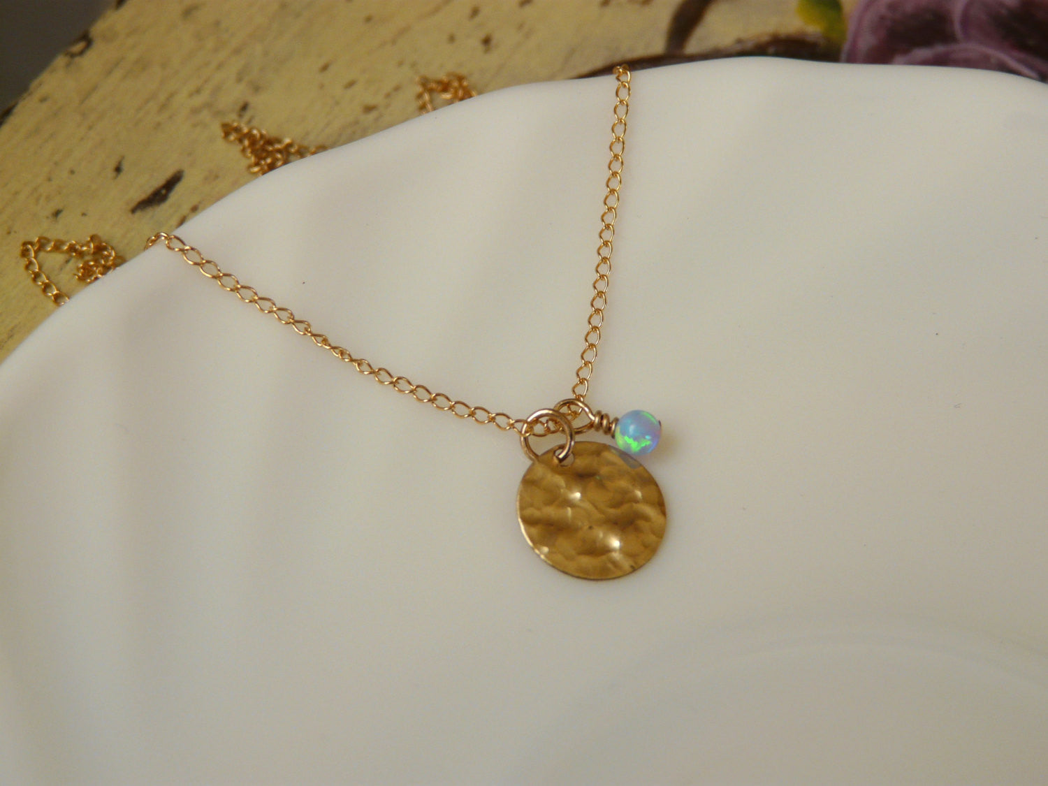 Gold disc necklace - OpaLandJewelry