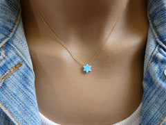 Opal Star of David necklace - OpaLandJewelry