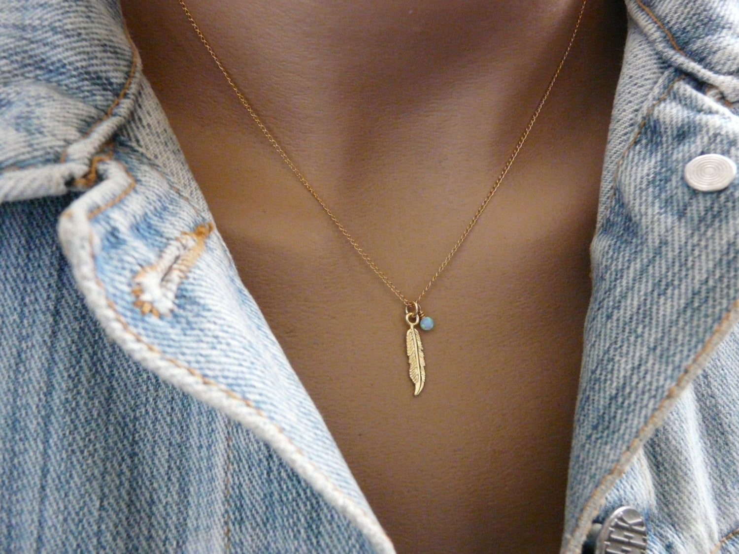 Feather necklace with Opal - OpaLandJewelry