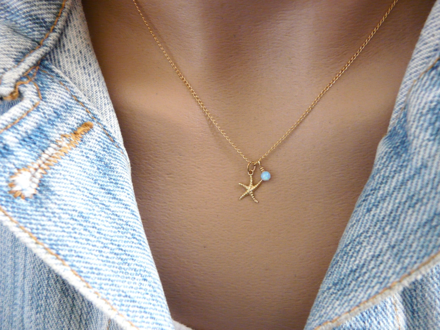 Starfish necklace gold filled - OpaLandJewelry