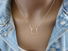 Silver Horseshoe necklace - OpaLandJewelry