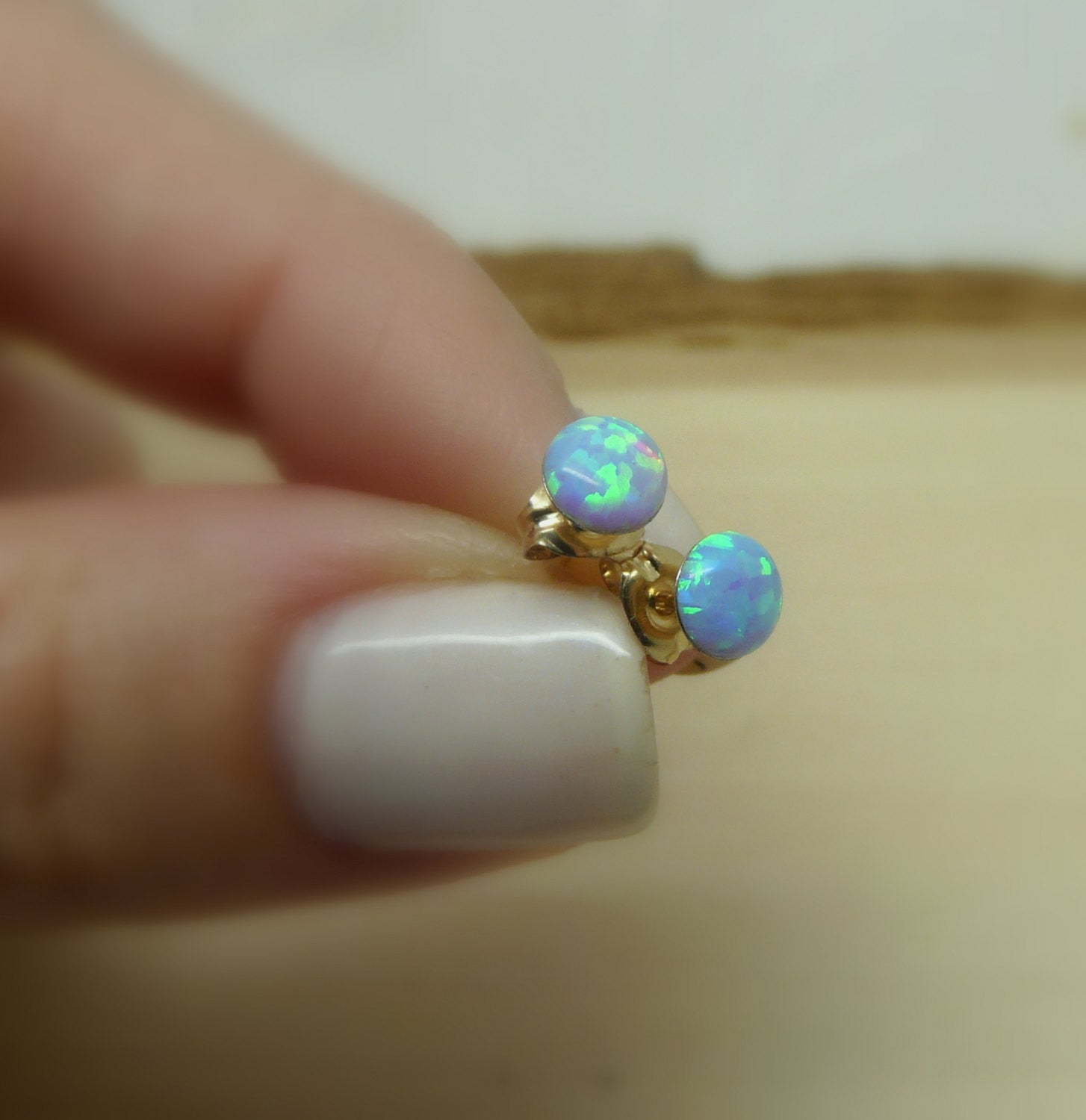 Gold Filled Opal stud earrings - OpaLandJewelry