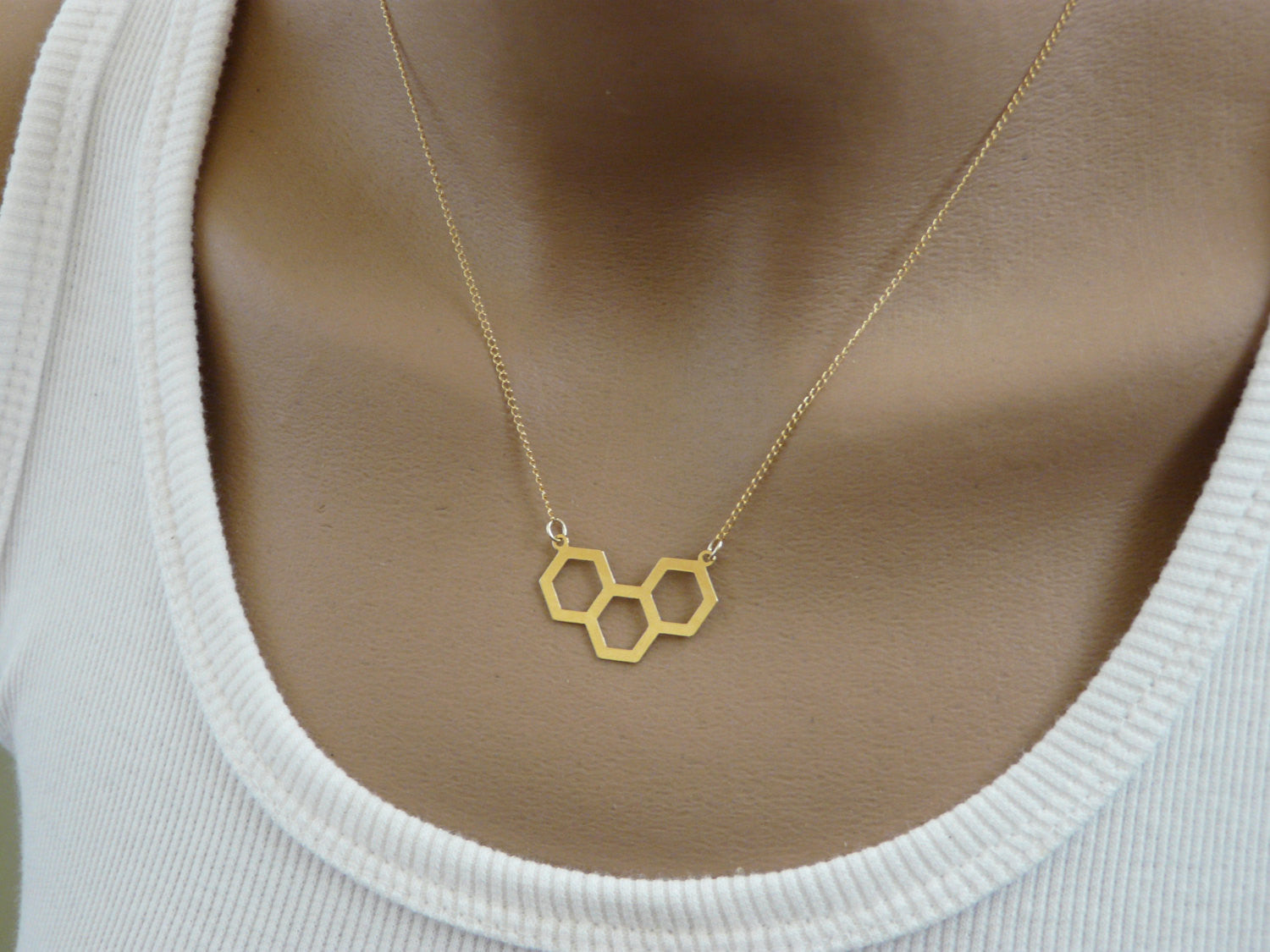 Honeycomb geometric necklace - OpaLandJewelry