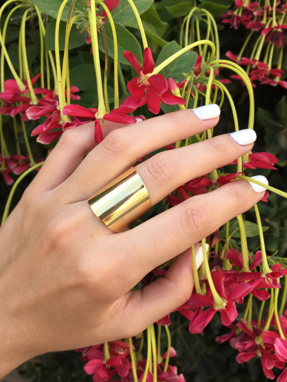 Matte gold tube ring - OpaLandJewelry